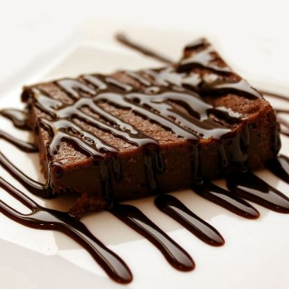 Brownie with Chocolate Syrup